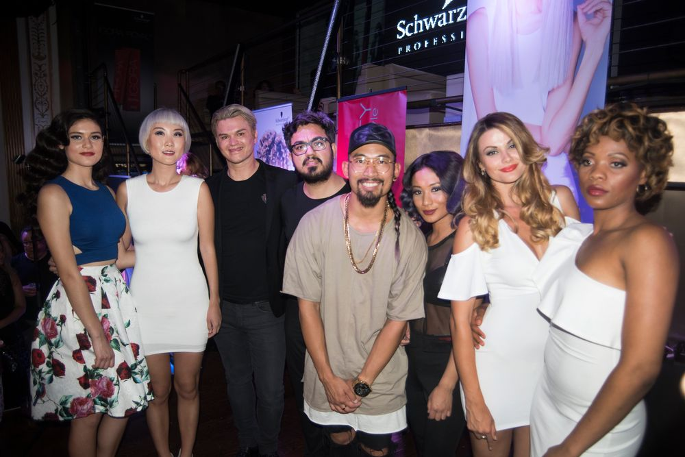 Kim Vō (@mrkimvo),Mustafa Avci(@mustafaavci) andLinh Phan(@bescene) with their models at the BLONDME launch event at Arena NYC on June 12.