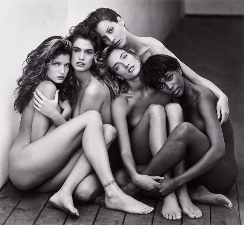 "<p class=""textbox"" dir=""ltr"">Herb Ritts 'Stephanie, cindy, christy, tatjana, naomi, hollywood' mounted, signed, titled, dated, and editioned '11/25' in pencil and stamped on the reverse, overmatted, framed, 1989 18 1/2 by 20 in. (47 by 50.8 cm.)</p> <p class=""textbox"" dir=""ltr"">Estimate $50/70,000</p>"