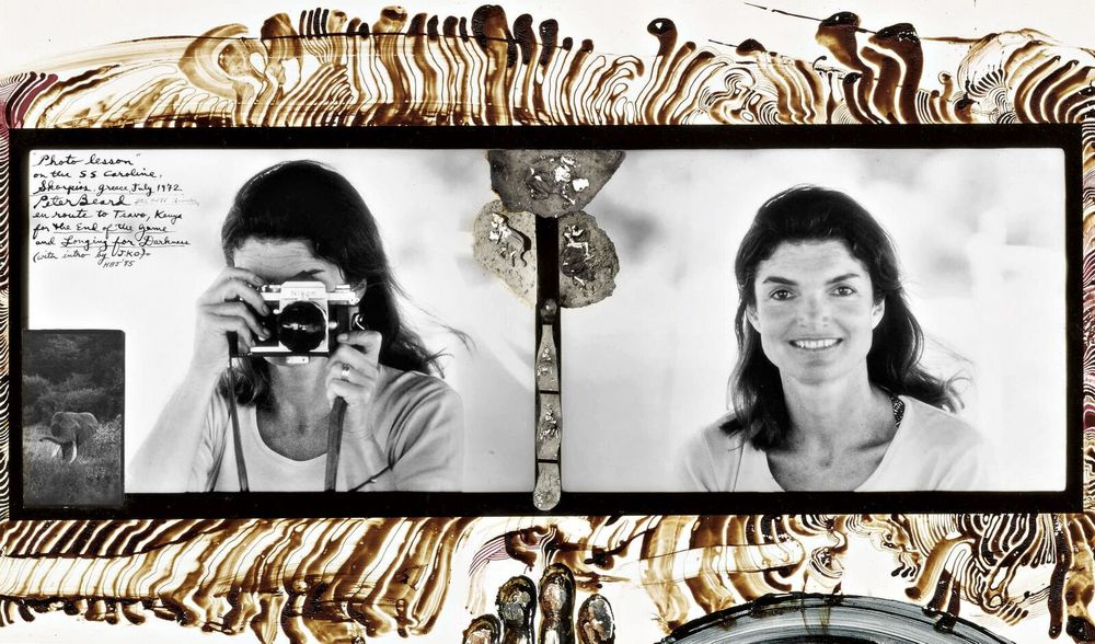 "<p class=""textbox"" dir=""ltr"">Peter Beard 'Photo Lesson On The S. S. Caroline, Skorpios, Greece, July 1972' (Jacqueline Kennedy Onassis) a unique object, signed, titled, dated, and annotated in red and black inks, partial handprint and drawing in blood and inks in the image, and with collage elements, framed, a Fahey/Klein Gallery label and facsimile of the Peter Beard studio stamp on the reverse, 1972, printed in 2004 14 1/4 by 23 7/8 in. (36.2 by 60.6 cm.) <br />Estimate $15/25,000</p>"