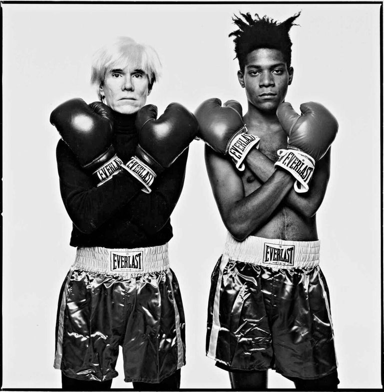 "<p class=""textbox"" dir=""ltr"">Michael Halsband 'Jean-Michel Basquiat + Andy Warhol, N. Y. C.' oversized, signed, titled, and dated in pencil on the reverse, framed, 1985, printed later 19 7/8 by 19 5/8 in. (50.5 by 49.8 cm.) <br />Estimate $15/25,000</p>"