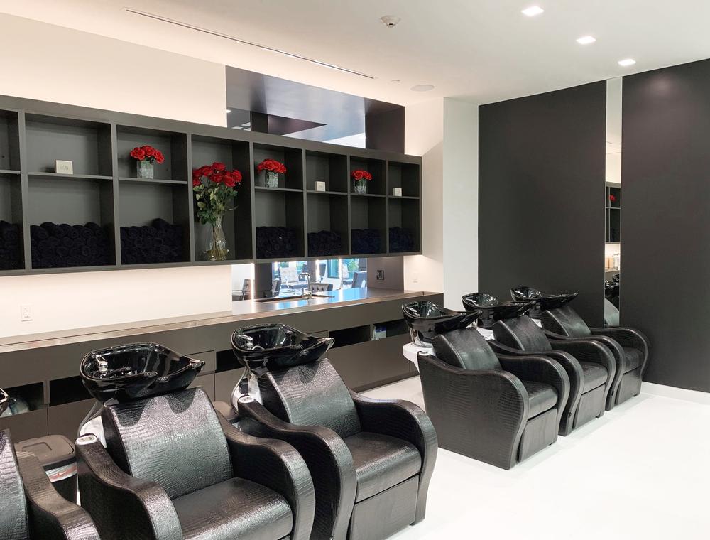 The shampoo area.