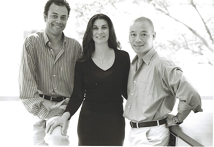 An image from their vault: Alain Pinon, Susanna Romano and Kao Hui, owners of Salon AKS.