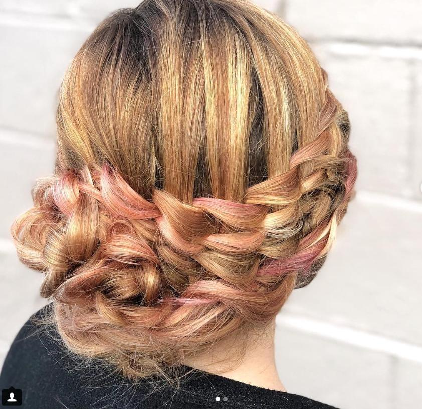 <em>A creative braid reveals the pretty mix of color by Haley Garber.</em>