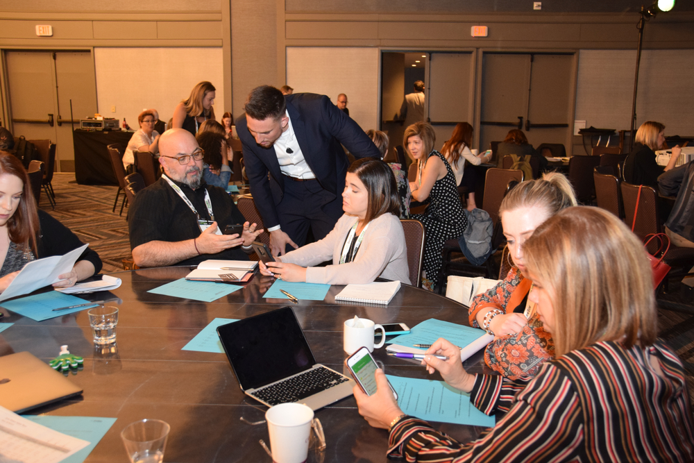 With help from ZeeZor's Clayton Nezda, salon owners and managers gather into accountabilty groups--peers who will support each other as they work on the metric goals throughout the year.