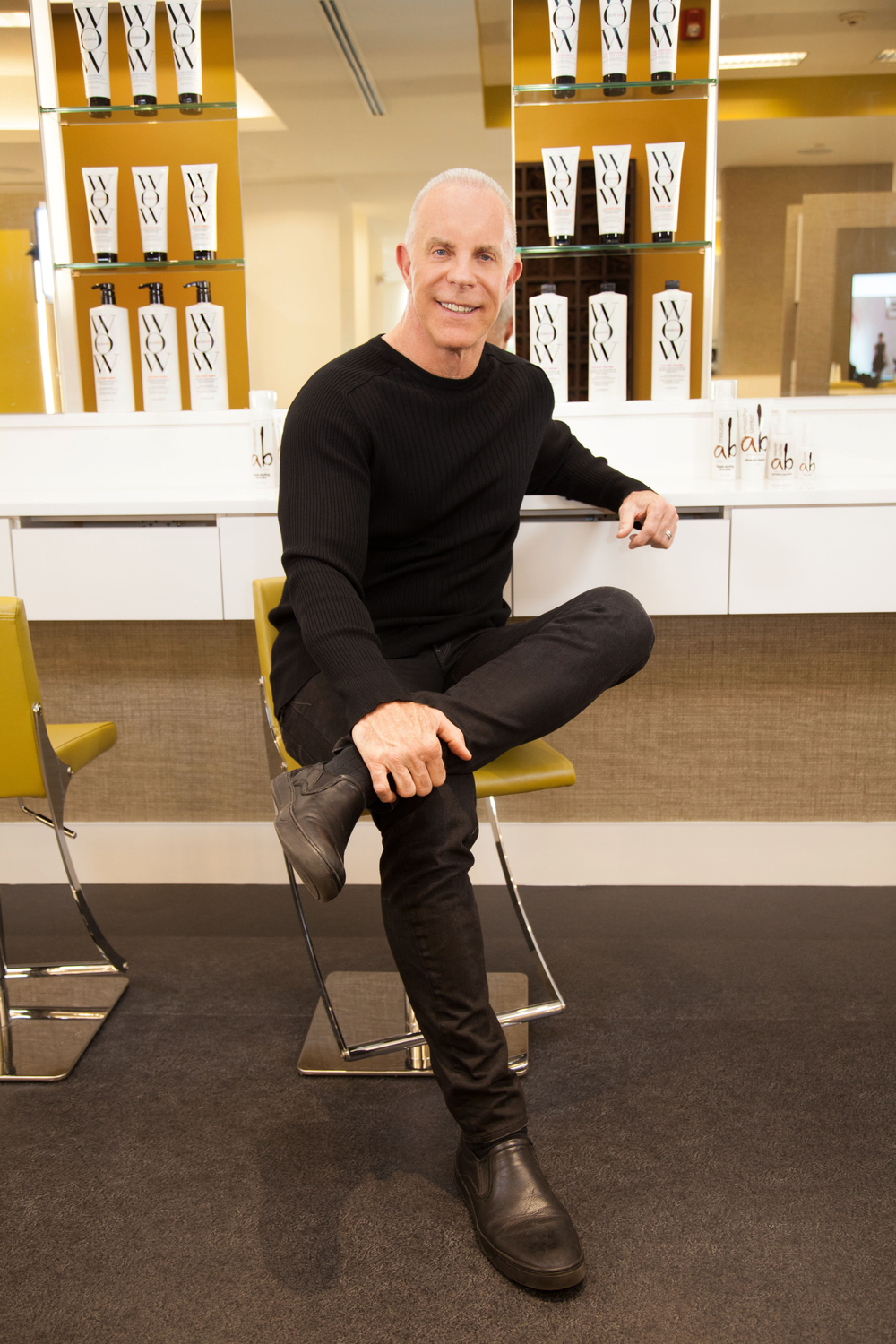 Adam Broderick seated at his new AB Style Bar at his location in Southbury, Connecticut.