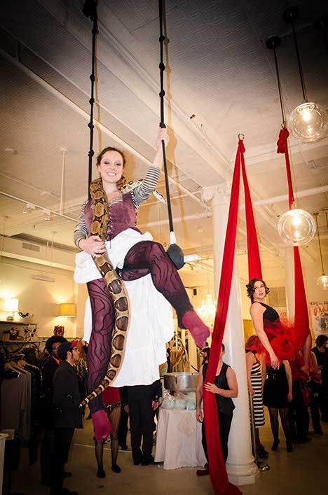 First-floor entertainment included acrobats with snakes, from the animal menagerie on the second floor. (Photo by Francois Gagne.)