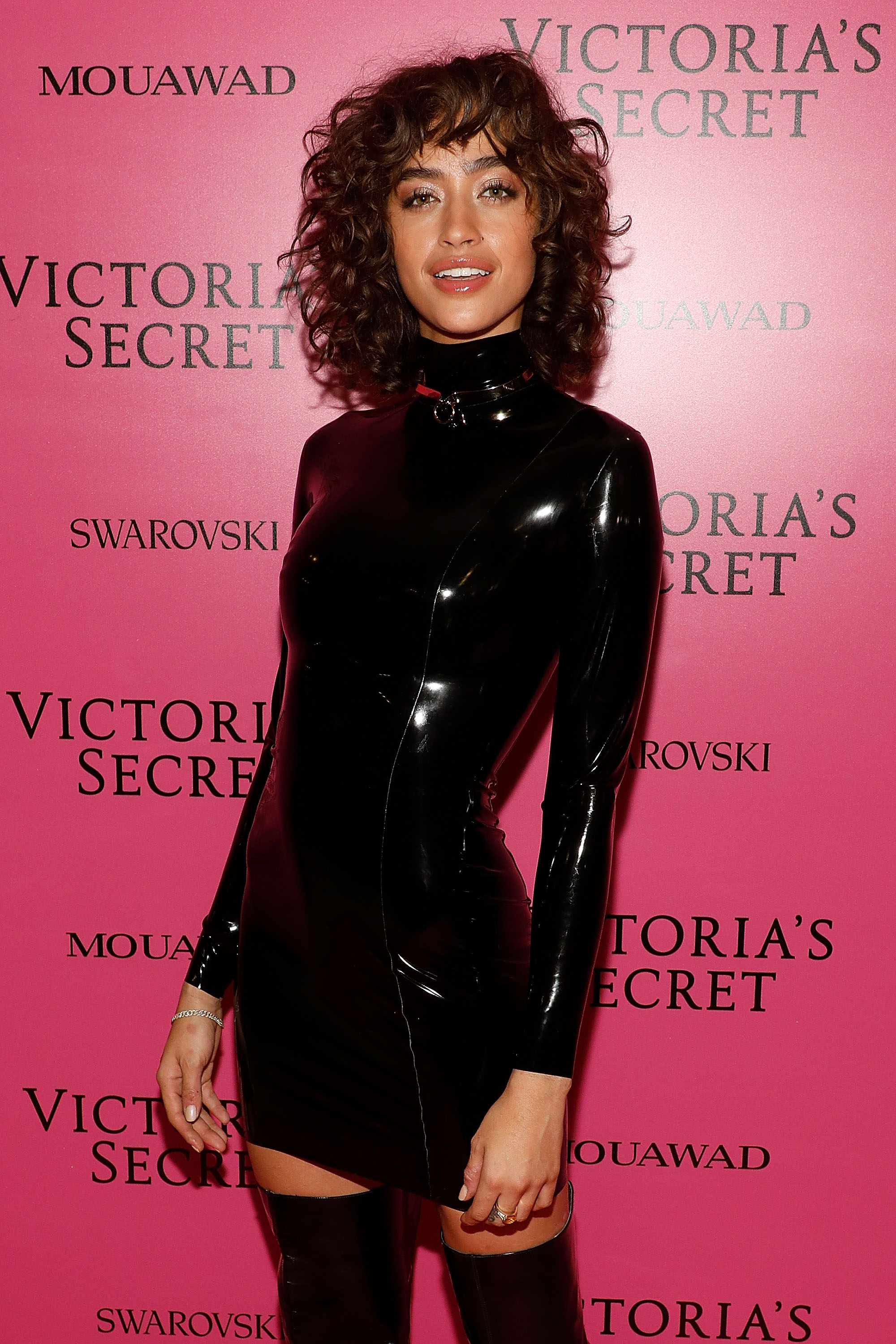 Alanna Arrington rocks a textured shag on the pink carpet during the Victoria's Secret Fashion Show.