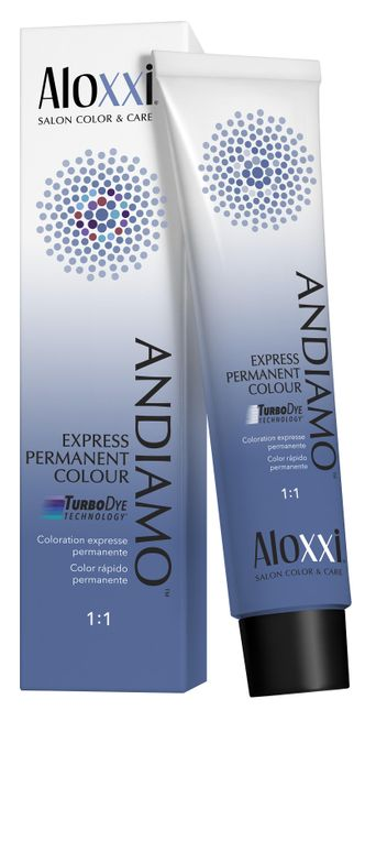 """<p>""""I love Aloxxi's Andiamo line. It's 10-minute color so they are in and out of chair in no time. It's easy to customize the look you want, use 10 minutes for full gray coverage or less time to just blend the gray for a more natural look. No fading and easy to mix.""""</p> <p>-@28strands_hair_studio</p>"""