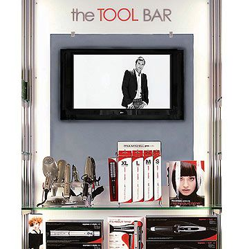 "McGuire: ""The Tool Bar is a great selling tool without overwhelming the client. It lets the client handle and use the tools for themselves. The mirror replicates a salon station and lets the client see how they can recreate their style using these tools."""