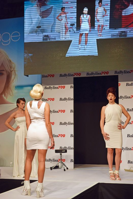 Finished modelsfrom the Aquage team at the Aquage/Babyliss Pro/Rusk booth.