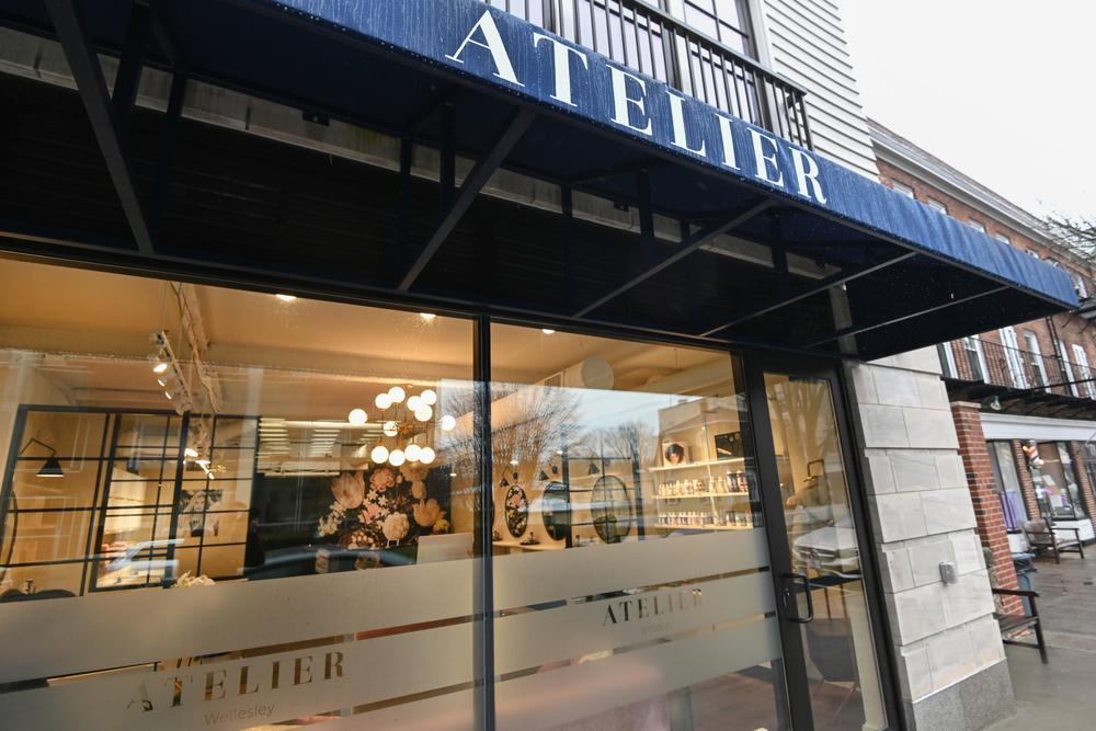 Large expanses of windows at Atelier in Wellesley, Massachusetts, gives passersby a peek at the action inside.