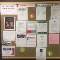 One of three internal job-posting boards at the Aveda Institute Minneapolis.