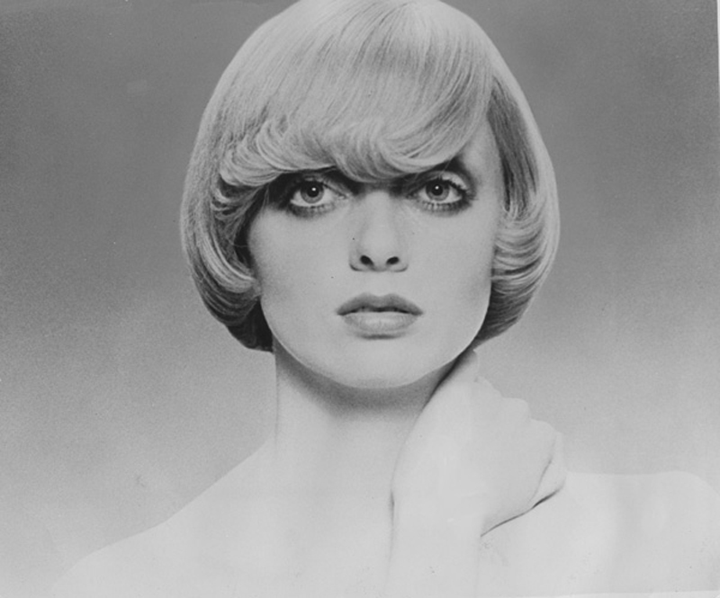 """<p>Femme Fatale, 1971 By Raphael.</p> <p>Hair: Raphael Santarossa … the most popular of Raphael's Femme Fatales, flicks half-covered the forehead – """"Nothing heavy or hard to wear, requiring an impeccable perfect cut,"""" advised Raphael. Makeup: Jacques LaFleur … Model: Judi MacDonald …Photo: Klaus Lucka</p>"""