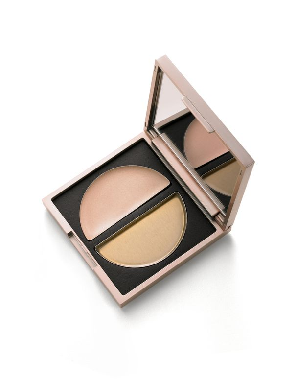 Glimmer Sheers by Beauty Addicts: One half crème highlighter, the other a gel luminizer. This two-in-one compact's formulas contain ingredients that do more than just create a gorgeous glow; dermaxyl hydrates skin, green tea works as an antioxidant and jojoba oil fights wrinkles. beautyaddicts.com