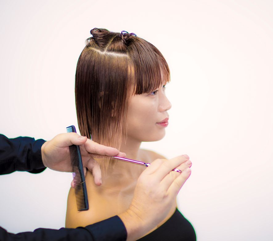 CUTTING TECHNIQUE STEP 4: Repeat same technique on the other side of the head. (Connect the fringe with the sides with comb control and natural distribution).