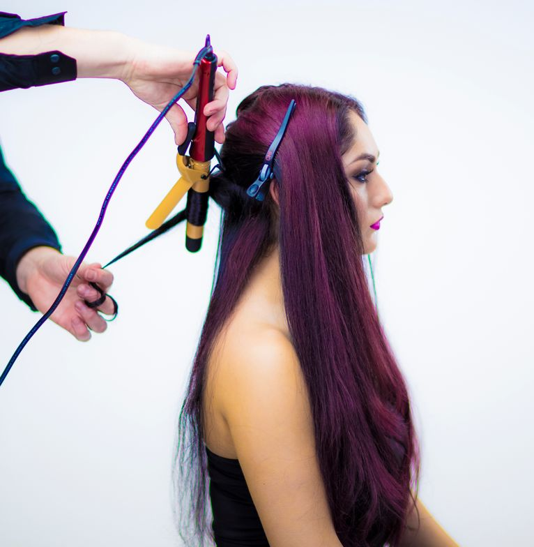 STYLING: <strong>STEP 3</strong> - Use the Dura CHI 1 inch Ceramic Curling iron from the roots to mid shaft. Starting in the nape area, take horizontal sections.