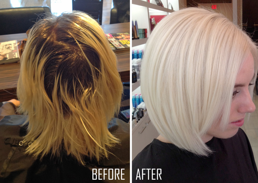 From left: Before and After (Top of head)