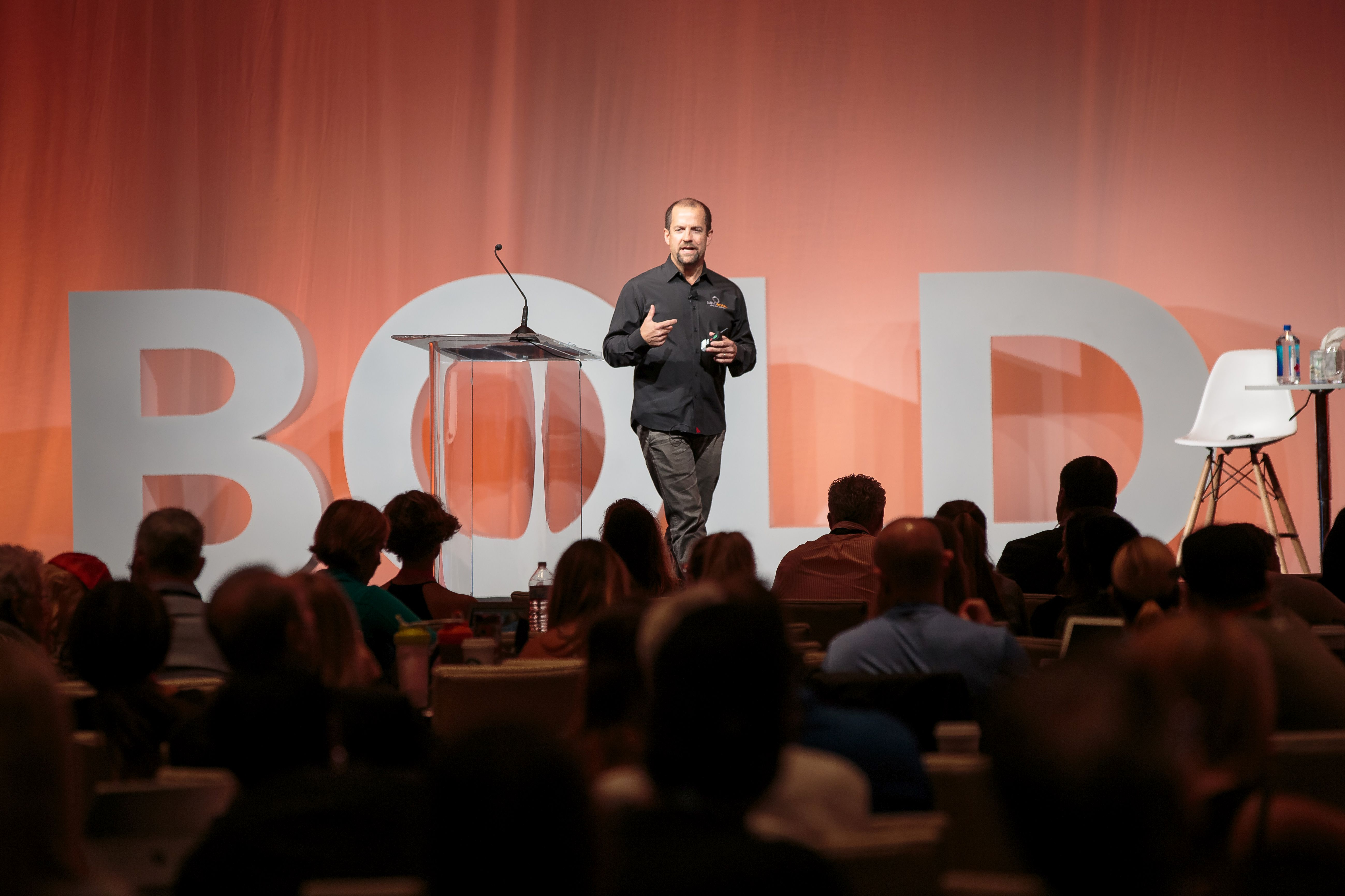 Mindbody CEO Rick Stollmeyer addresses attendees at the Mindbody BOLD conference.