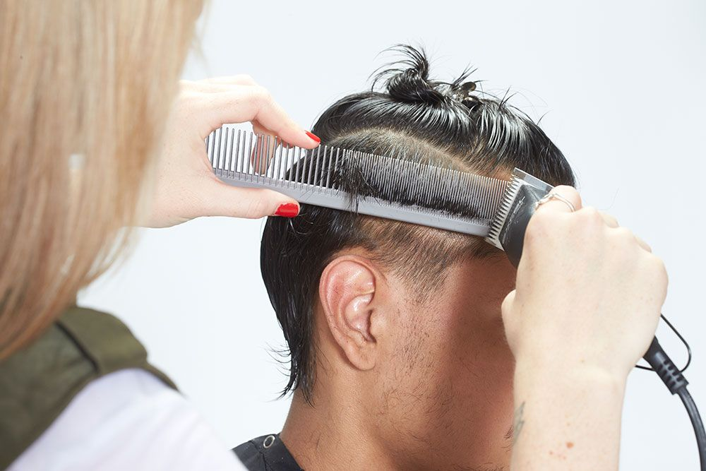 3. Blend up to the isolated section using a clipper-over-comb technique.