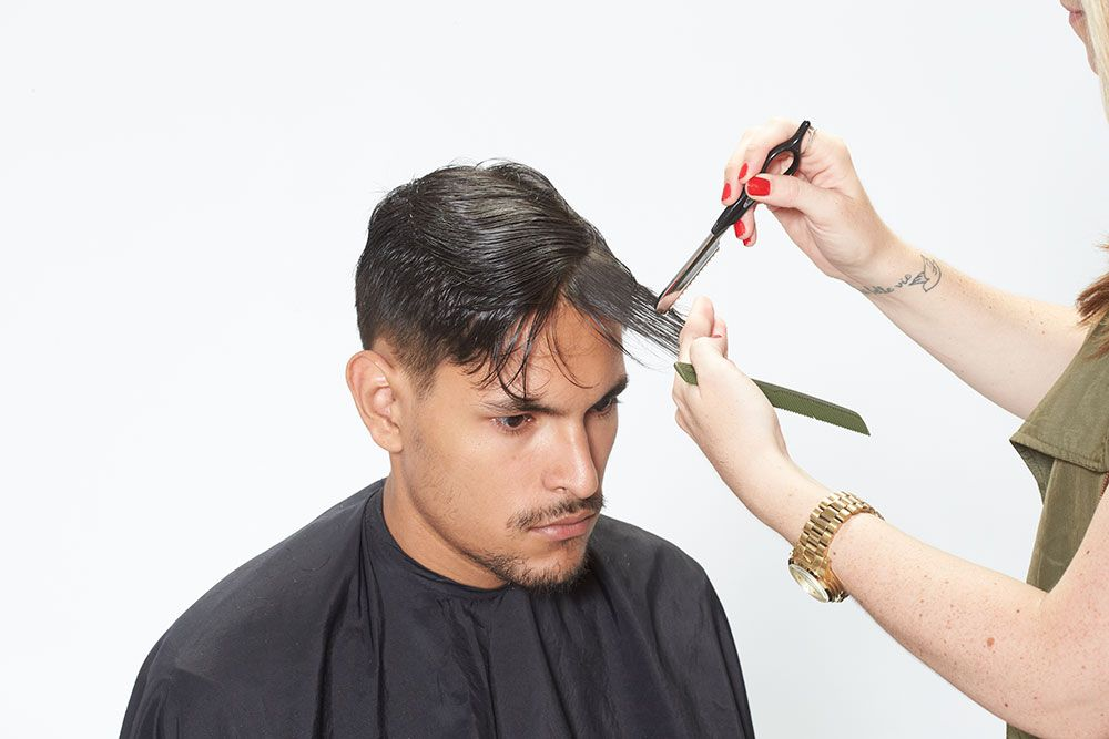 8. Direct the fringe forward, use a razor to remove weight.