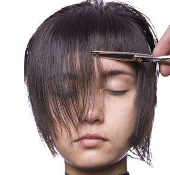 2. To cut, direct the hair forward and cut a U-shaped fringe.