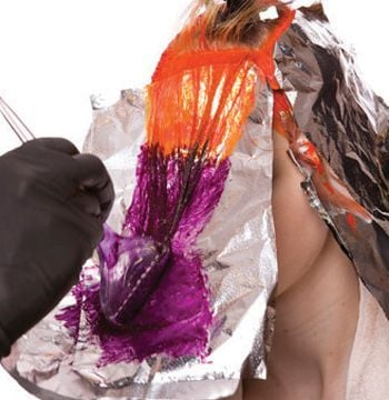 Direct the fringe forward and apply the customized intense plum to the unlightened area.