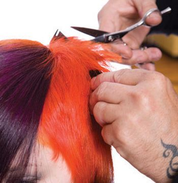 At crown lift up and point cut to the desired length.