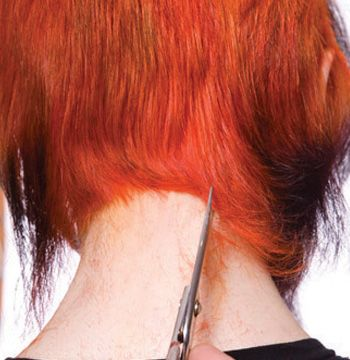 At the nape, comb the hair as it is to be worn. Point cut an inverted U to create softness and then blend the nape into       the crown.