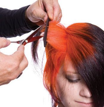 Along the sides, lift up horizontal sections and remove select sections of the black hair.