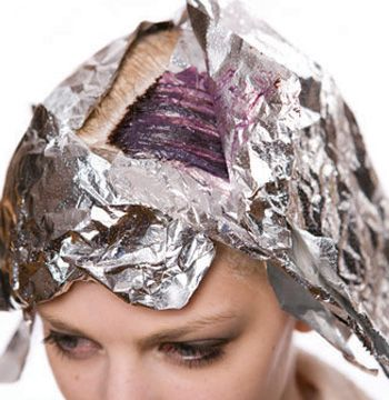 Cover the pre-lightened area and apply Aveda Intense 3RV with 10 volume and place in foil.