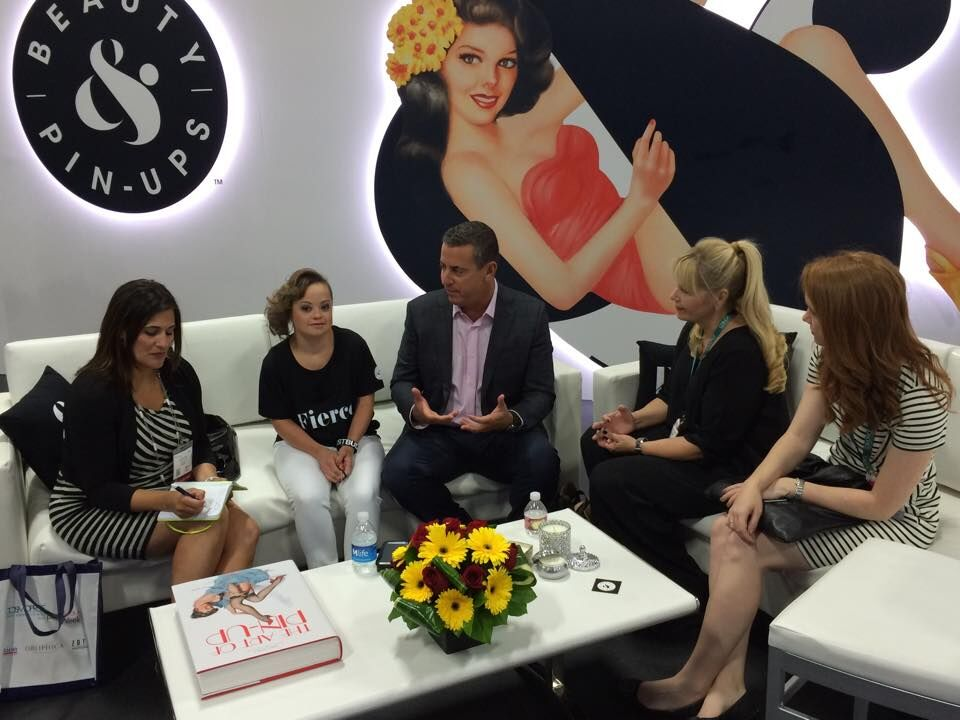 MODERN SALON Regional Sales Manager Angela Reich, Best Buddies and Beauty & Pin-Ups Ambassador Katie Meade, Chief Executive Officer of Level Beauty Group Kenny Kahn, MODERN SALON Beauty and Markets Director Maggie Mulhern and Associate Editor Lauren Quick at Cosmoprof 2015.