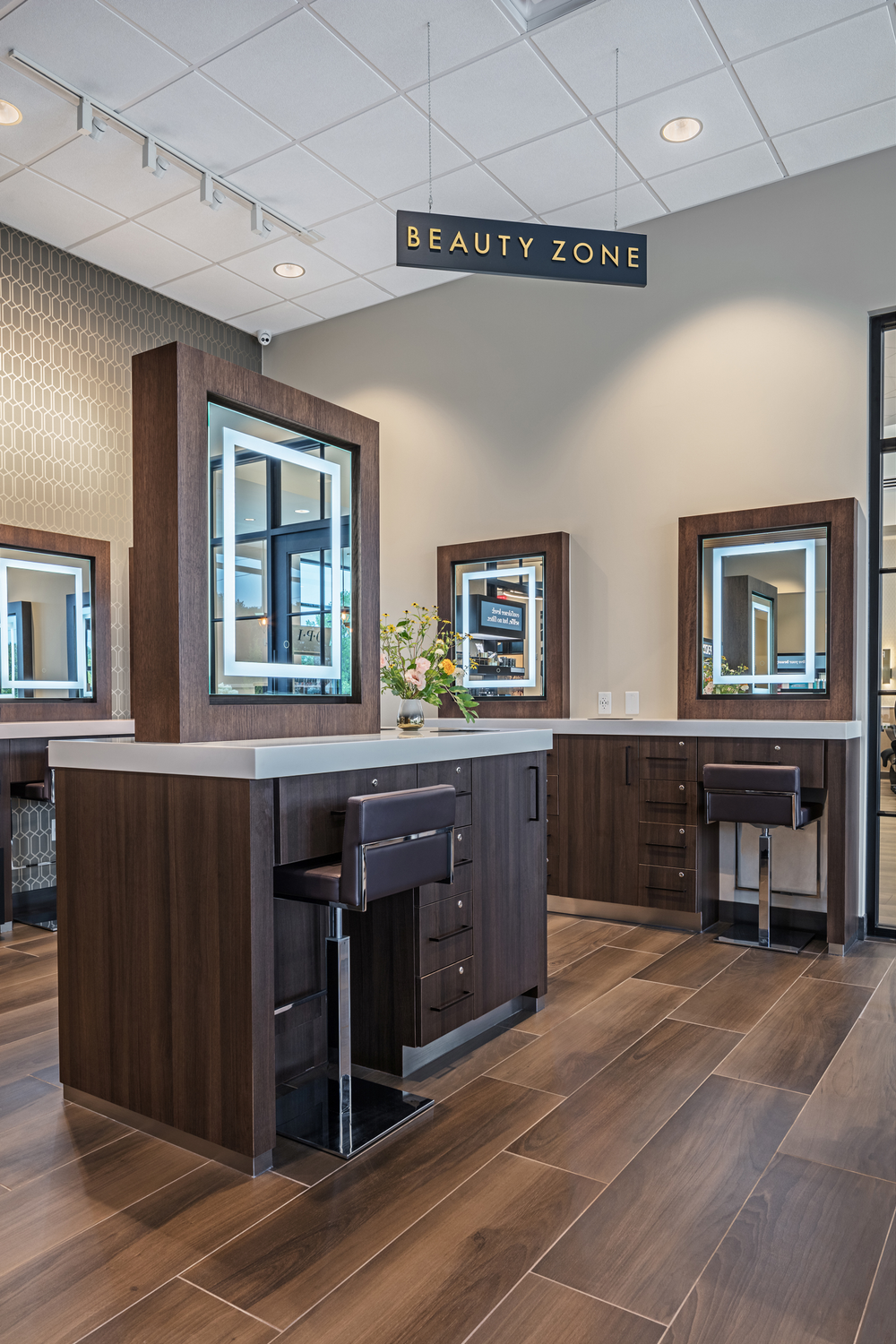 The salon's Beauty Zone invites clients to play with product, and the room frequently hosts client events.