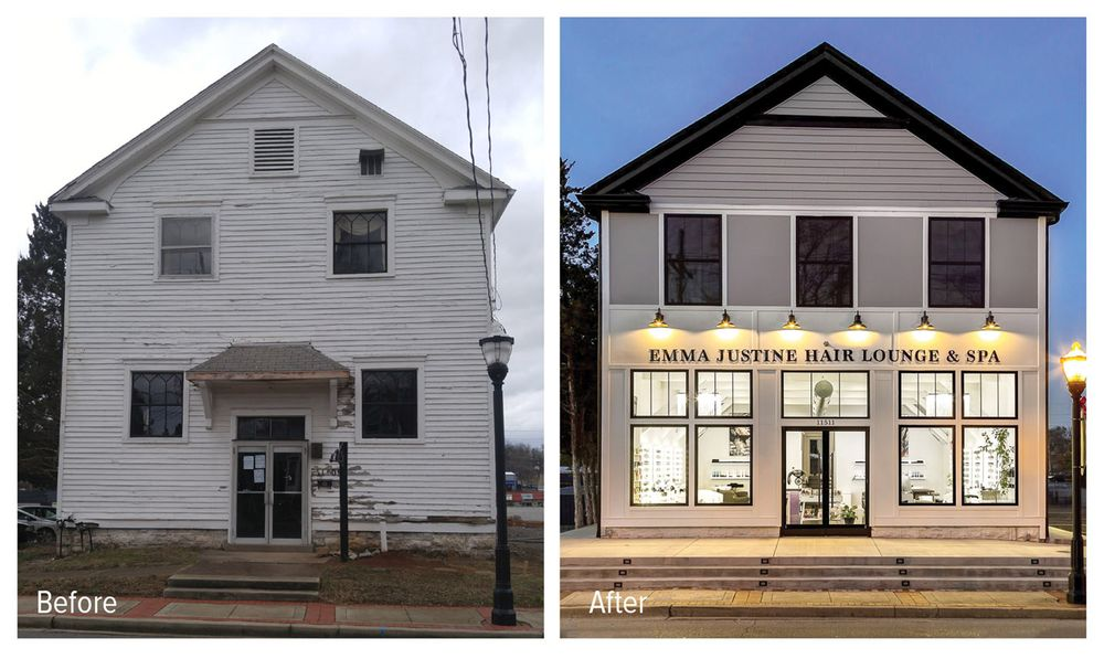 A dramatic side by side comparison, shows the vision and courage the Emma Justine team had when transforming a crumbling old building into a gorgeous modern salon.