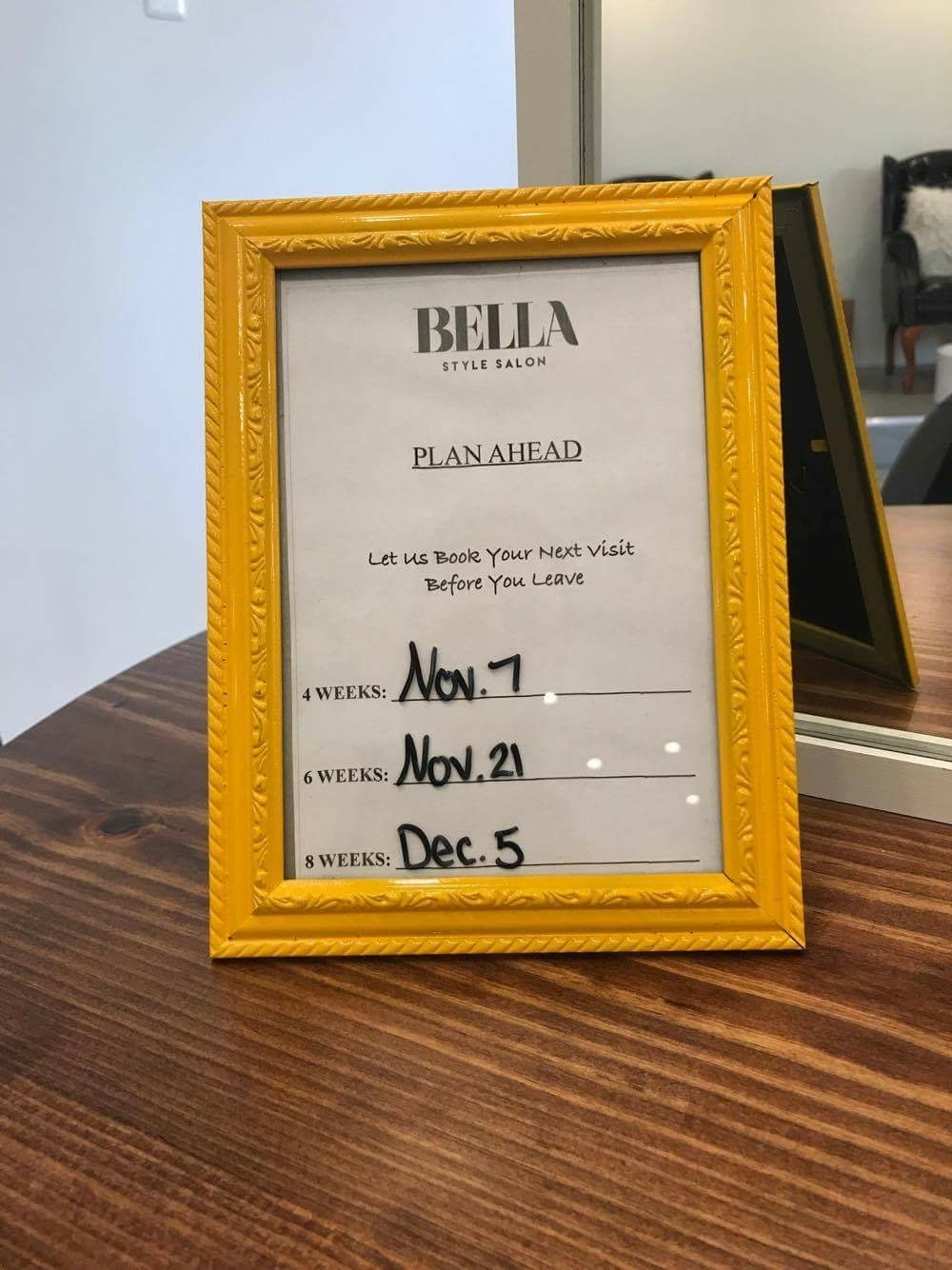 Adopting the idea for the appointment reminders, Baudier put her spin on it by putting them in colorful frames.