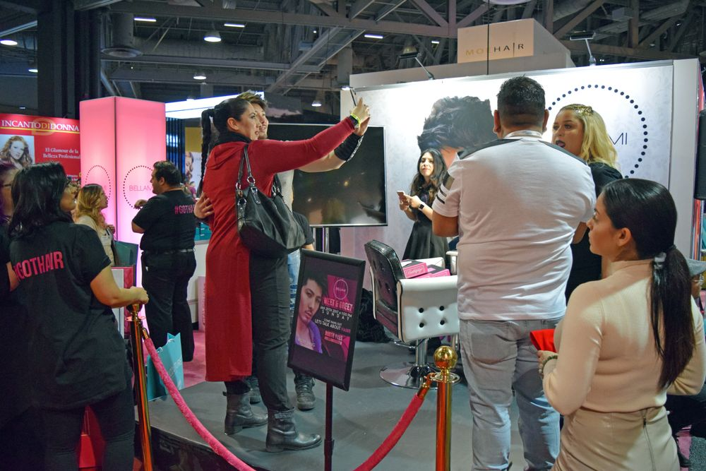 Attendees formed a VERY long line for the chance to meet and take a selfie with social media stylist sensation Guy Tang at the Bellami booth.