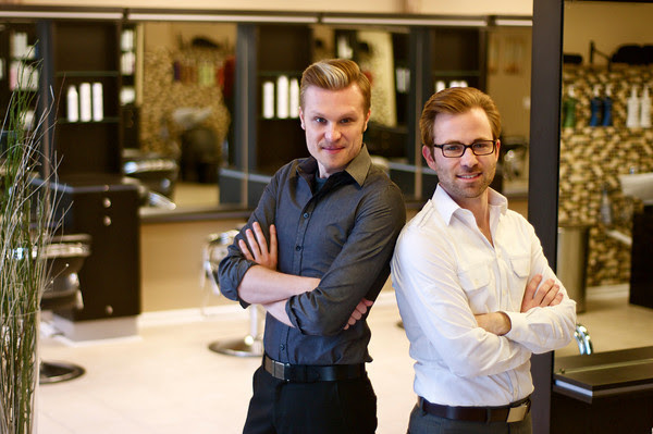 Adam Swanlund and James Gartner, owners of Bii Natural Salon in West Dundee, Illinois.