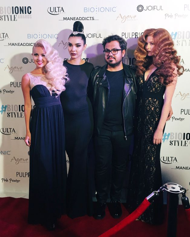 Mustafa Avci with his models.