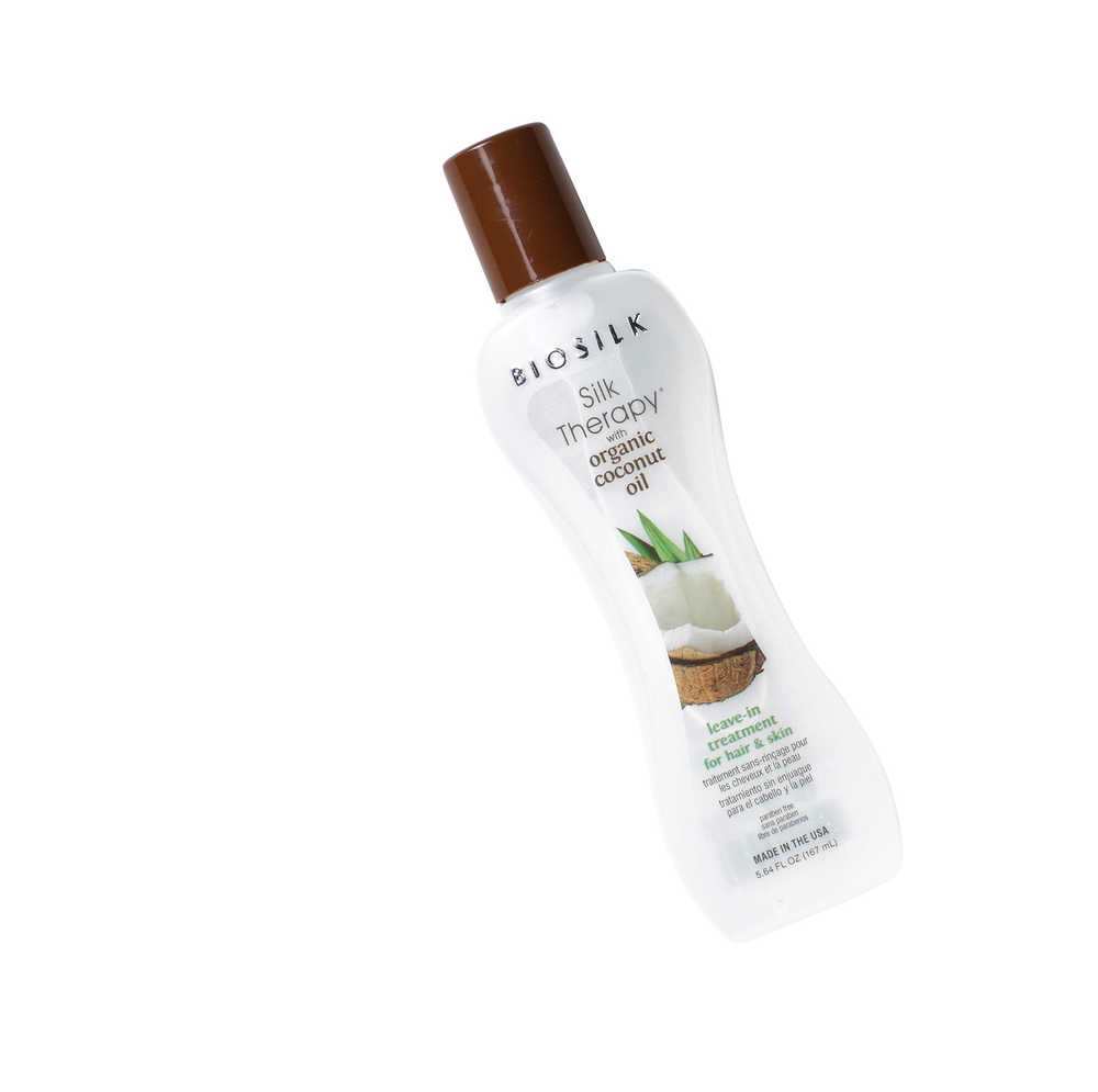 <strong>BIOSILK Silk Therapy with Organic Coconut Oil:</strong> Leave-in treatment is good for your clients' hair and good for your hands, too.