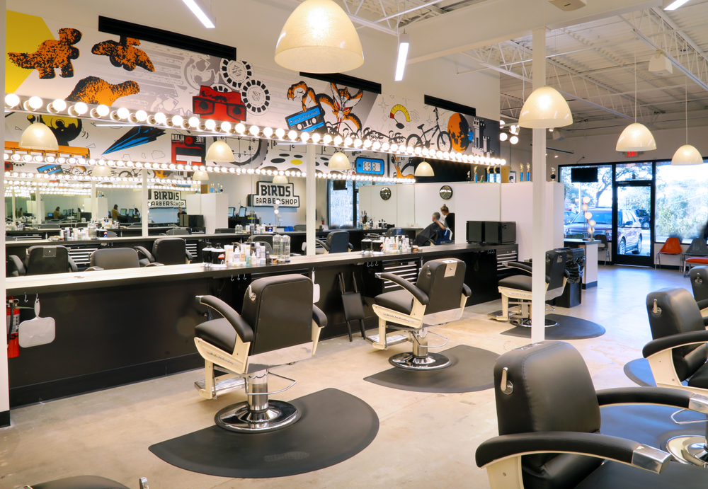 The colorful atmosphere at Birds Barbershop in West Lake Hills, Texas, unleashes the inner gamer.