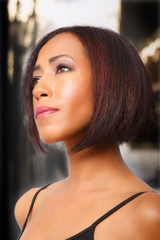 SHORT BRUNETTE BOB: Styled by Jeremy Novak, this look showcased undertones of red mahogany with dramatic cut outs underneath that can be concealed or displayed depending on the mood.