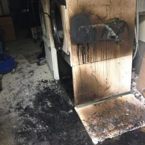 The aftermath of a laundry dryer fire at Bob Steele Salon's Atlanta Post Riverside location.