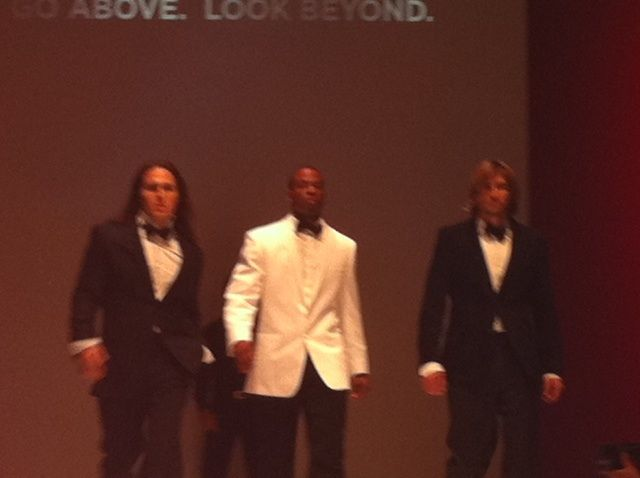 The James Bond boys get the crowd cheering.