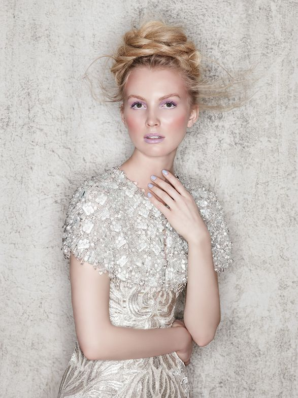 BRIDAL STYLIST -- Diffused texture, braids and loose styles are on-trend for brides. Hair: Antonio Corral Calero; Makeup: Nico G P; Fashion styling: Rod Novoa