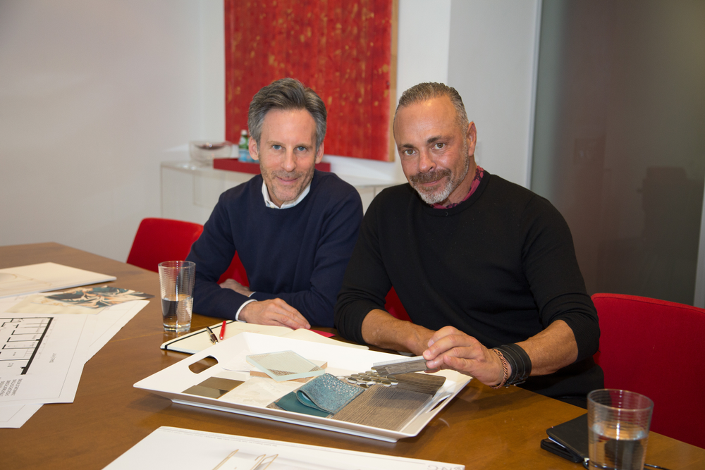 PRG's Bruce Teitelbaum and The Salon Project's Joel Warren reveiw design swatches as they plan the interior look of The Salon Project.