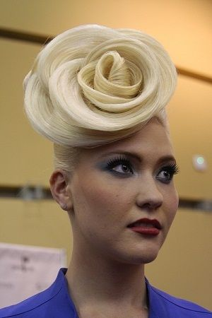 Celebrity stylist Ann Bray created this look of the future, inspired by the rose, in memory of Leo Passage.