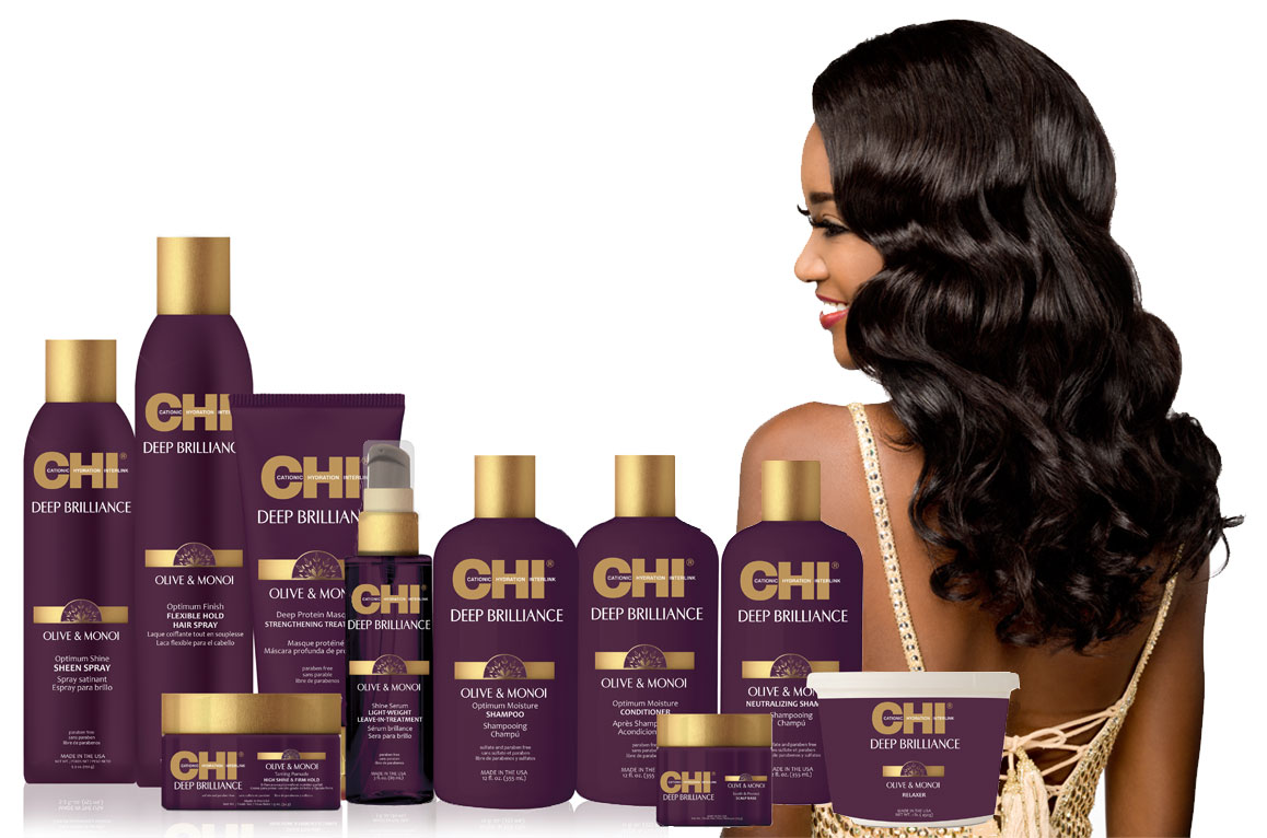 Farouk's New CHI Deep Brilliance Olive & Monoi Line Nourishes Chemically-Treated Textured Hair