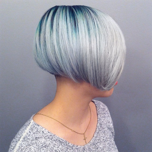 Turquoise Root to Silver Color Melt