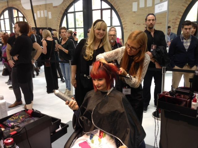 MODERN's Beauty and Fashion Director Maggie Mulhern judging at the Goldwell Color Zoom Challenge in Berlin, Germany, 2014