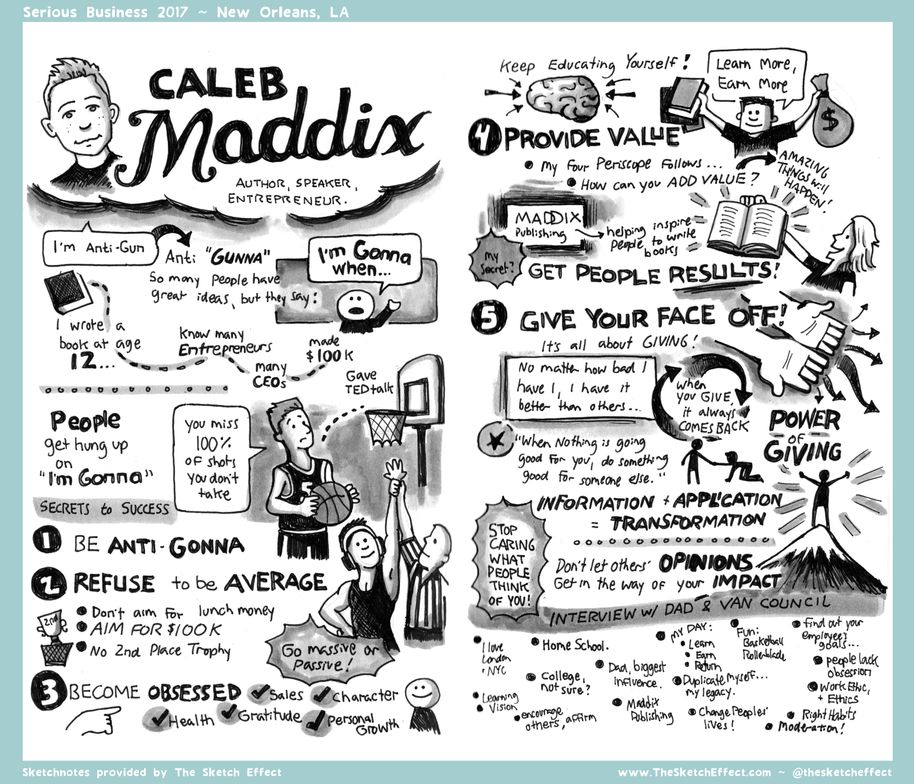 Serious Business Speaker Caleb Maddix, as captured by The Sketch Effect.