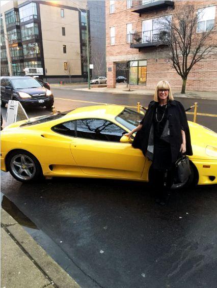 Candy Shaw with Jerry Gordon's infamous yellow Ferrari.